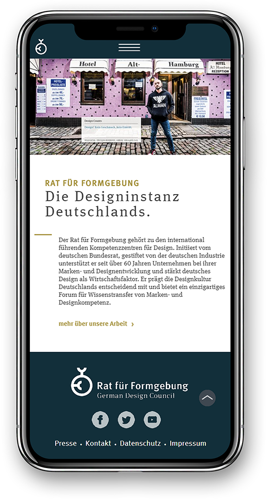 Smartphone mit German Design Council Website