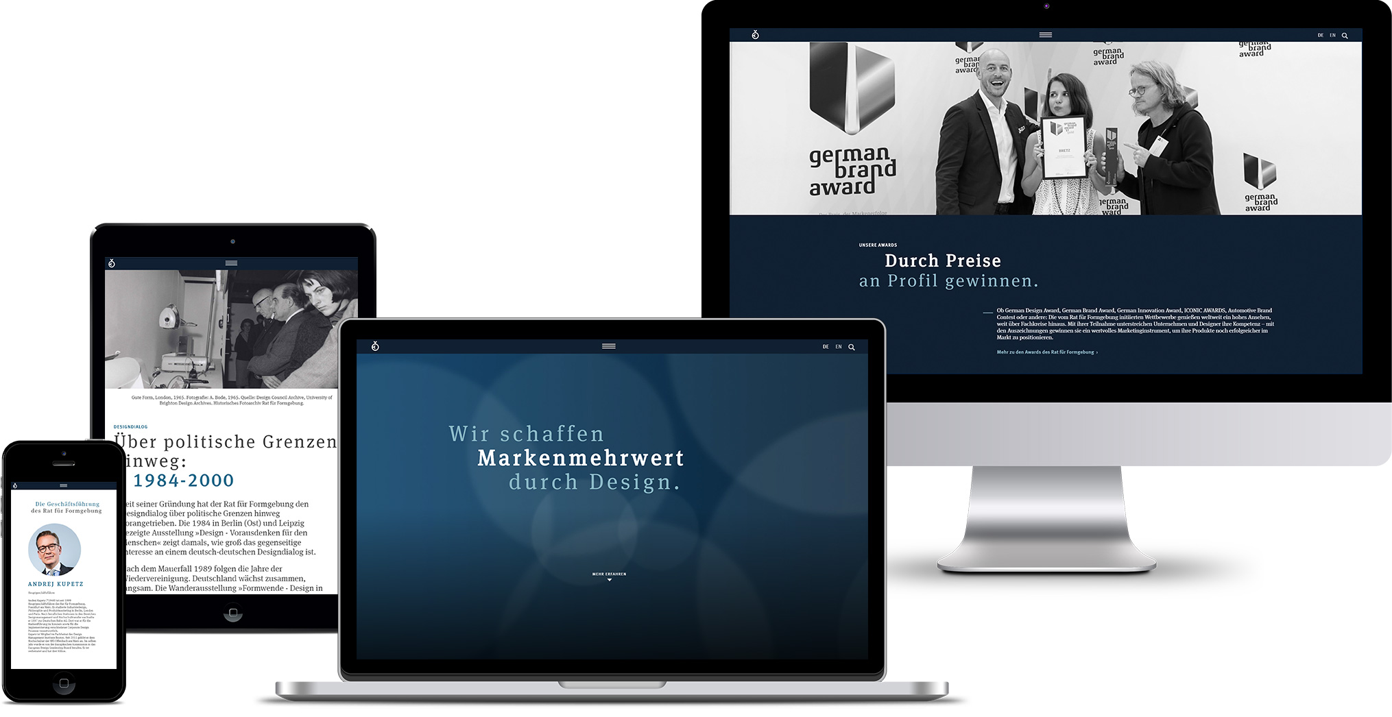 Responsive Ansicht der German Design Council Website